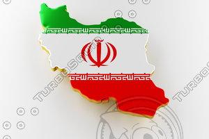 3D iran land border flag