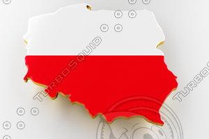 poland land border flag 3D model