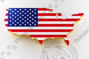 usa land border flag 3D model