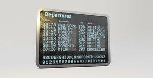 3D airport departure billboard model