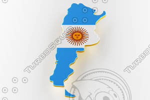 3D argentina land border flag model