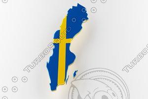 3D sweden land border flag model