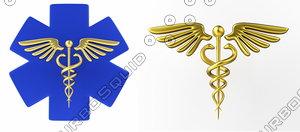 caduceus medical symbol icon 3D