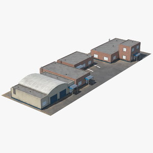3D factory buildings set