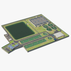 3D water treatment plant industrial model