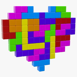 3D tetris blocks heart