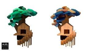 customizable house tree set 3D model