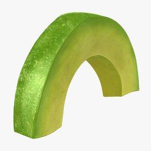 realistic sliced avocado 3D