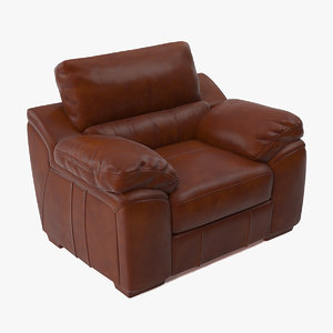 brown leather chair classic 3D