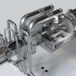 3D steam turbine generator model