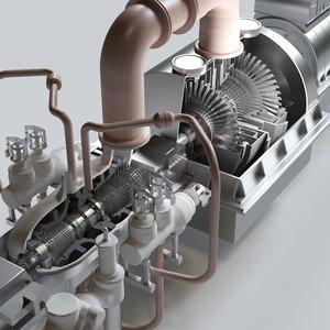 3D steam turbine 350mw model