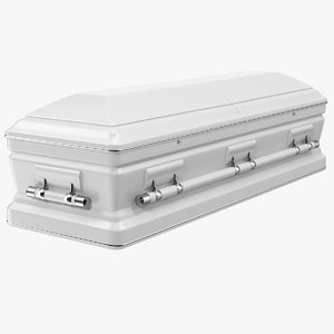 3D white funeral casket model