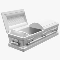 Opened White Funeral Casket