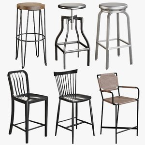 3D model realistic bar stool collections