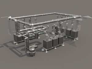 3D industrial boiler room model