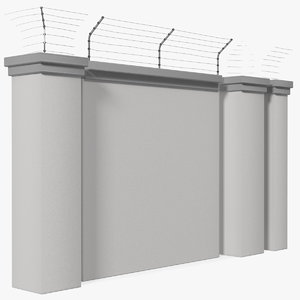 3D concrete wall electric wire fence model