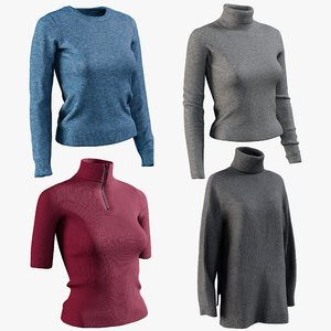realistic women s pullover 3D model