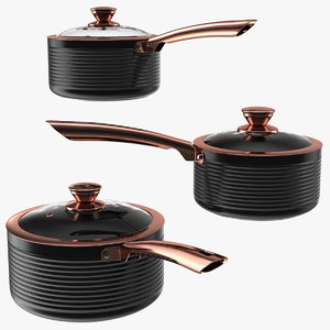 3D model tower saucepan set