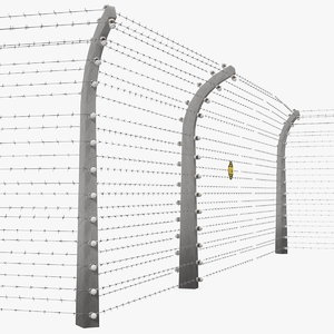 3D model electric barbed wire fence