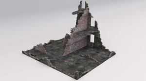 3D ruined damaged building model