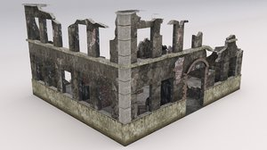 ruined damaged building 3D