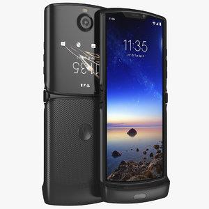 3D black motorola razr flip phone