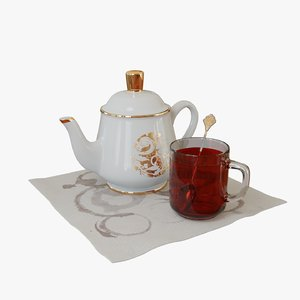 teapot spoon transparent 3D model