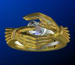 3D model claddagh ring