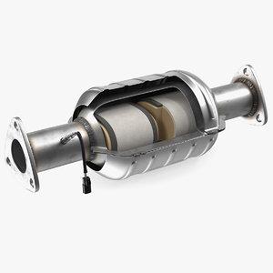 catalytic converter cross section 3D model