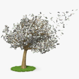3D money tree dollars blown model