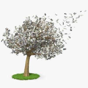 3D money tree dollars blown model