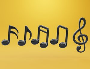 3D model musical note tone