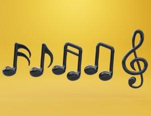 3D model musical note tone