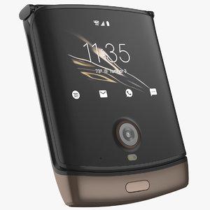 3D bronze razr flip phone model