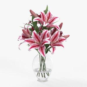 3D lily bouquet vase