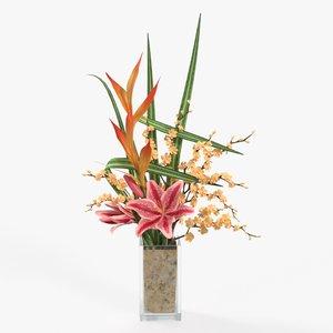 3D lily bouquet cherry model