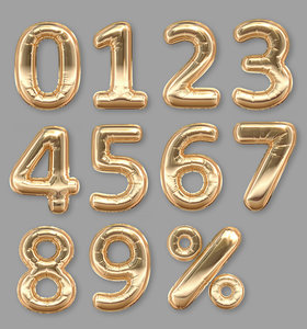 3D foil balloons golden numbers
