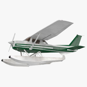 light floatplane aircraft rigged 3D