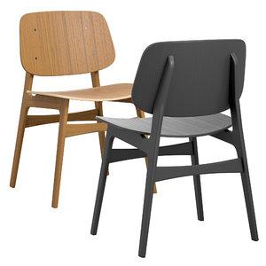 soborg chair wood fredericia 3D