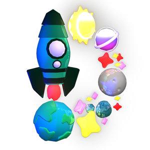 3D english letter d stars model