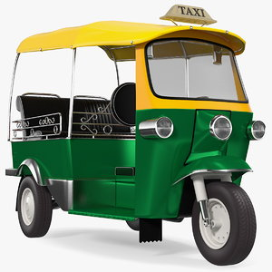 wheeler auto rickshaw rigged 3D model