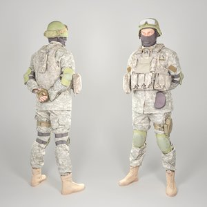 equipped soldier military uniform model