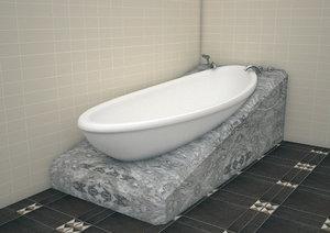3D model white bath tub