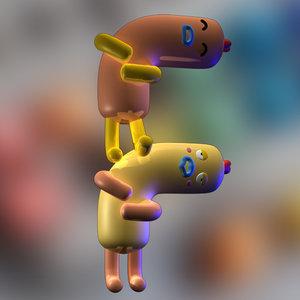 3D character design letter f