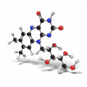 riboflavin molecule c17h20n4o6 modeled 3D model