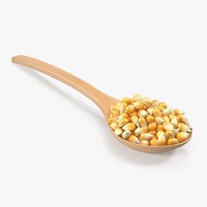 3D model wooden spoon corn seeds