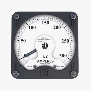 vintage ac panel ammeter 3D model