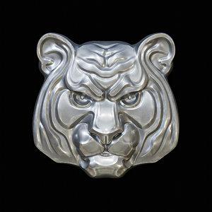 tiger head pendant jewelry 3D model