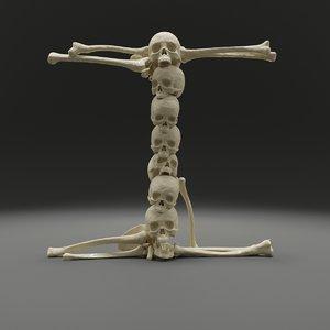 letter bones skeleton 3D model