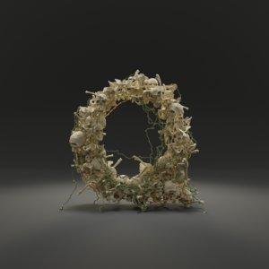 letter q bones skeleton 3D model